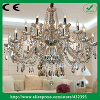 Modern Large Hybrid-type Double Layer Candle Crystal Chandelier Lighting Luxury Cognac Crystal Light Fixture Home Decor Lamp