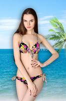 2015 Push Up Bikini Set Colorful Print Swimwear Brazilian Bow Biquinis Sexy Swimsuit Women Floral Bathing Suit 1400