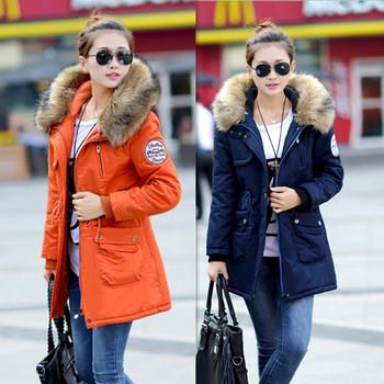 2014 Женщины winter coat wadded jacket medium-Длинный plus Размер 4XL Parka Мех ...