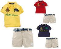 New, retails ,Free Shipping,Children's clothes set, new design, T shirt+ pants 2 in 1, 2colors, 1set/lot(no belt)--JYS01
