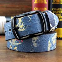 100% genuine leather belts for men and women skull pattern men and women belt