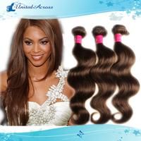 Fashion Chocolate Mocha Brazilian Remy Hair Body Wave Weave 3 Pcs Bundles Color #4 Light Brown Human Hair Extension