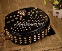 Fashion 2014 women's rivets chain with leopard head bag handbag one shoulder cross-body shoulder bag messenger bag Free Shipping