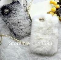 Hot sale Luxuxy 100% real rabbit hair fur plush Case for I phone 4 4S warm winter phone case #MC075