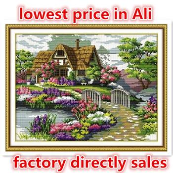 Рукоделие, Сделай сам DMC вышивка крестом, Комплект для вышивания, Точная сельской местности цветок дом счетный кросс-колющие