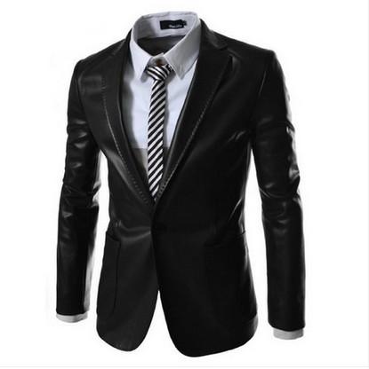2014 New style fashion mens leather jacket brand leather blazers men slim fit suit jacket ,men's clothing(China (Mainland))