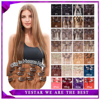 """20""""(50cm) Brazilian Virgin Remy Hair Clip Human Extensions 70g Full head 28 colors available Free Shipping"""