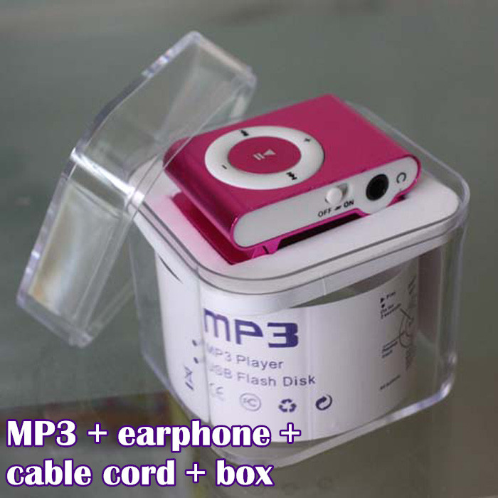 Mini clip mp3 player with TF card slot promotion product MP3 player+ earphone + USB + crystal box .(China (Mainland))