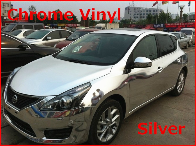 1 pc 1.52*0.5M Silver chrome vinyl film with bubble free chrome car wrap chrome car sticker Free Shipping(China (Mainland))