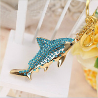 Wholesale and custom doradus blue fish crystal keychain personalized gift usb flash drive dolphins fish pen drive