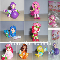 New Fashion Romantic STRAWBERRY SHORTCAKE Princess Boutique Keychain Strawberry Girl Action Figure Pendant 7pcs