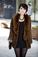 Silver fur coat Women 2014 slim rabbit fur female winter fox fur Y8P1