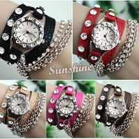 Dropshipping 5pcs/lot 2014 New Rhinestone Synthetic Leather Silver Sling Chain Quartz Wrist Watch Man Woman Dress Watch 19223