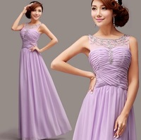purple Evening Dresses 2014 elegant special occasion chiffon prom dress vestidos de fiesta 5101