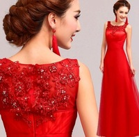red Embroidery lace Prom Dresses 2014 sexy long evening dress 5507
