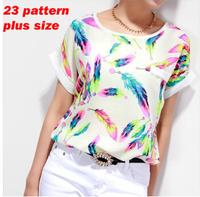 New 2014 fashion Florial Women Blouses Shirt Chiffon Plus Size Feminina Top Tee Short Shirt  Summer Feather Printed blouse top