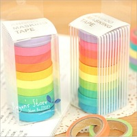 10Colors/Set, Angoo Mini Cute  Rainbow Series  Washi Paper Tapes DIY Decorative Paper Masking Tape Solid Paper Tape