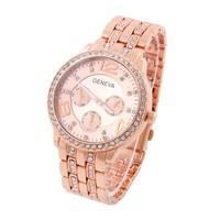 Geneva Watch Unisex Full Steel Watches Rhinestone Women dress Watch Analog Casual watch Hot Sale