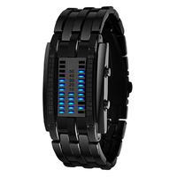 Skmei Luxury Brand Men Sports Watches 30m Waterproof Cool Lava Full Steel LED Blue Light Binary Digital Watch Dress Wrist watch
