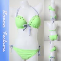 2014 new sexy push up bikini set top fashion swimsuit high quality green swimwear modern beach wear for vacation