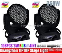 Hi-quality 2pcs/lot 108pcs*3W RGBW Led Moving Head Light,Low Noise 13DMX Channel 1 Year Warranty Led Stage Light DJ Light