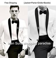 2014 - Custom Made to Measure men's BESPOKE suit,white jacket + black shawl lapel + black pants + tie + pocket sqaure, Tailored