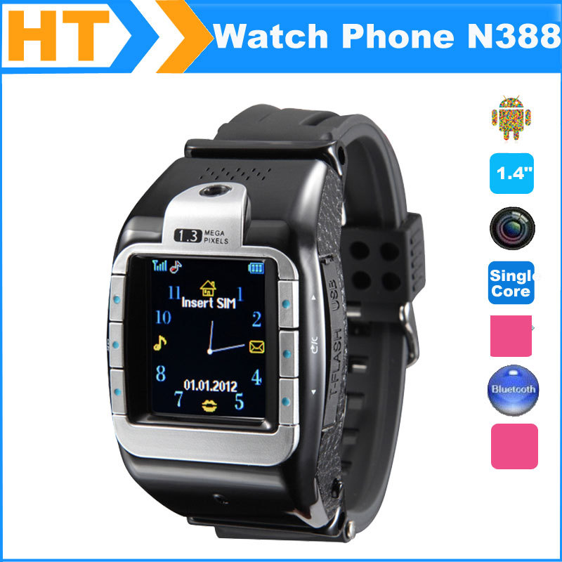 2014 Fashion Smart Watch Mobile Phone N388 Pro 1.4'' Touch Screen with 1.3MP Spy Camera and SIM Card Slot + Bluetooth(China (Mainland))