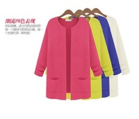 5 colors  2014 Spring Hot Sell Women knitted Cardigan long sleeve pure color O-Neck Cardigan  two pockets Free Shipping
