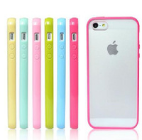Free Shipping New Fashion TPU+PC Transparent edge Case Cover For apple iphone 5 5S. 1*case+1*screen protective film for iphone 5