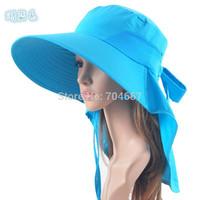 Free ship women UV block waterproof sun hat with backswing curtain neck outdoors quick drying beach cloak hiking detachable hat