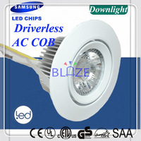 2014 New Design Dimmable No Need Driver 6W Samsung AC COB led down light bulbs Paint White CRI>80Ra 4-Year Warranty Retail 10pcs