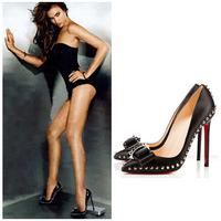 Fashion Bowknot Pointed Toe Rivets Shoes Women Pumps Asakuchi High Heels Sexy Wedding Party Shoes Summer