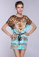 Hot Sale New Fashion Cool Summer woman dress european Plus Size Ice Silk Dress Hot Selling Tiger Loose Novelty Print Beach Dress