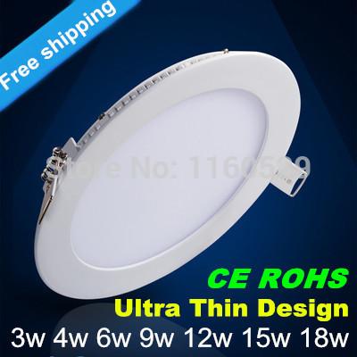 Envío gratuito nuevo diseño ultra delgado 3w 4w 6w 9w 12w 15w smd2835 led empotrada en el techo de la red downlight/ronda delgado panel de luz