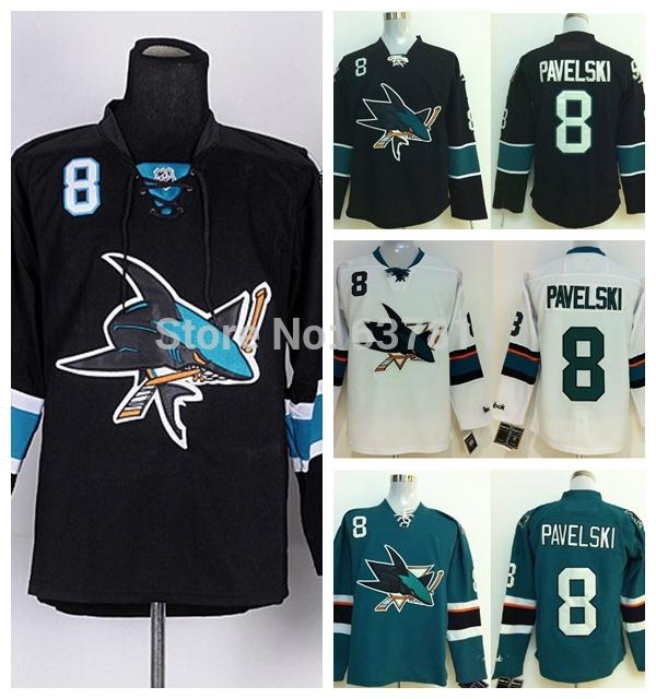product Wholesale San Jose Sharks Hockey Jerseys #8 Joe Pavelski Jersey Home Teal Green Road White Third Black Cheap Stitched Jersey