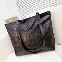 Hot sell bags women's handbag 2015 vintage crocodile pattern big bags portable one shoulder women's bags black