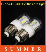 5pc LED light lamps 9w e27 led light 5730 e27 220V-240V Energy Efficient Corn Bulbs led bulb E27 5730 24LEDs  Lamp 5730 SMD