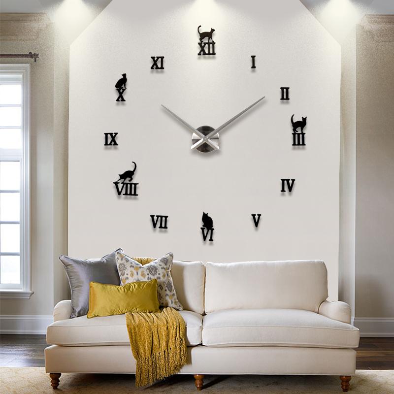 2014 New Hot Sale Quiet Clocks Interesting 3d Diy Home Decor Clock Roman Numeral Art Creative