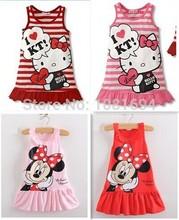 Novas 2.014 crianças meninas roupas bonito Mickey Mouse Minnie Vestido, 2 cores de mini roupas vermelhas e cor de rosa, bebê meninas vestido de roupas(China (Mainland))