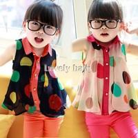 2014 Summer Kids Girls Chiffon Blouse Girls baby clothes girls summer chiffon blouse shirt 17132