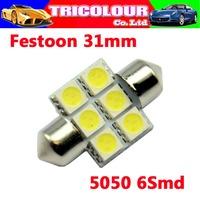 10x festoon 5050 6smd C5W 31mm 6SMD 6 LED led festoon 31 5050 White Festoon Dome Car Light Lamp Bulb 12V#LK07