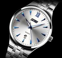 2014 Men's Full Steel Quartz Watch Men Casual Fashion Dress Wristwatch with Calendar 30m Waterproof Man Business Clock Hour 9071