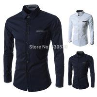 New Arrival Casual Men Shirt Slim Fit Plaid Buckle 2014 Famous Brand Man Designer Men's Shirts Social Long Sleeve Big Size M-XXL