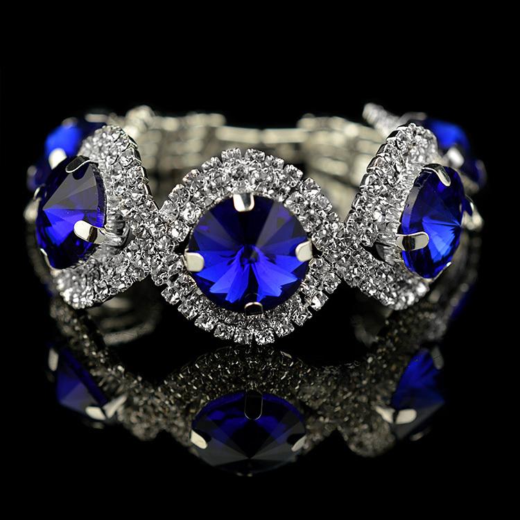 silver girl crystal bracelet 2014 valentine day gift fashion silver plated green rhinestone bracelet blue stone jewelry(China (Mainland))
