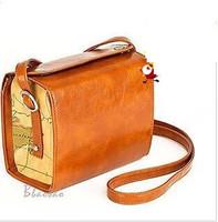 HOT New Map Camera Bags women fashion vintage messenger shoulder handbags female mini Oil wax leather harajuku retro mobile bags