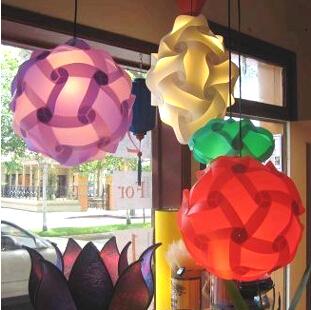 30PCS 250MM DIY Modern IQ Jigsaw LED Ceiling Colorful Puzzle PVC Shade Light Christmas Gift Ball Pendant Lamp Lighting(China (Mainland))