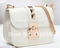 women's  handbags rivet shoulder bag designer famous brand leather day clutches girls small chain lock ande key cross body bag