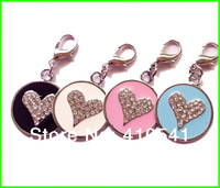 New Arrival Free Shipping 300Pcs/lot Mix Colors Dog Product  Heart Rhinestone Pet ID Tags Custom Dog tags Personalized Dog Tags