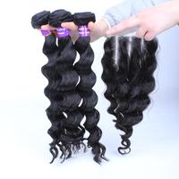 SunnyQueen Brazilian virgin hair loose wave 3 way part lace closure with 3PCS bundles 5A closure with bundles,natural black