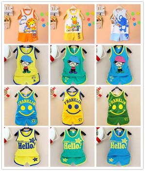 2015 новые дети комплект одежды, девушки одежда мальчик майка + брюки майку шорты, дети пижамы комплект на лето, комплект одежды младенца